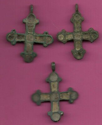 Lot of 3 Russia Enemaled Bronze Ortodox Cross 1050 11-12th Viking Byzantine 681