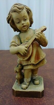 """Antique Hand Carved Figurine Girl With Lute And Daschund Dog Anri Dolfi Italy 9"""""""