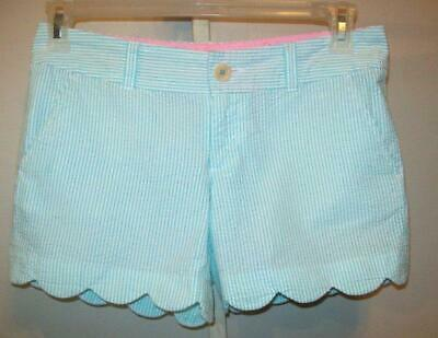 Lilly Pulitzer Womens Size 0 Blue White Striped Buttercup Scallop Hem Shorts See