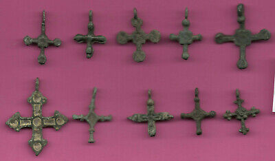 Lot of 10 Russia Bronze Ortodox Cross ca 1050 11-12th Viking Byzantine 689
