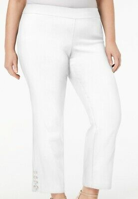 JM Collection Women's Pants White Size 2X Plus Stretch Lace Up Ankle $59 #208