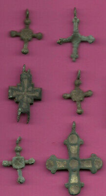 Lot of 6 Russia Bronze Ortodox Cross ca 1050 11-12th Viking Byzantine 702