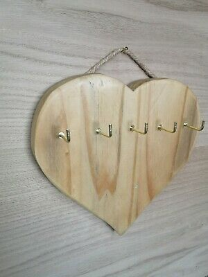 Rustic Love Heart Shape - Key Holder hanger Storage Hooks Wall Mounted Wooden