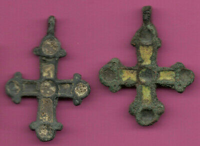 Lot of 2 Russia Enemaled Bronze Ortodox Cross 1050 11-12th Viking Byzantine 694