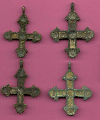 Lot of 4 Russia Enemaled Bronze Ortodox Cross 1050 11-12th Viking Byzantine 692