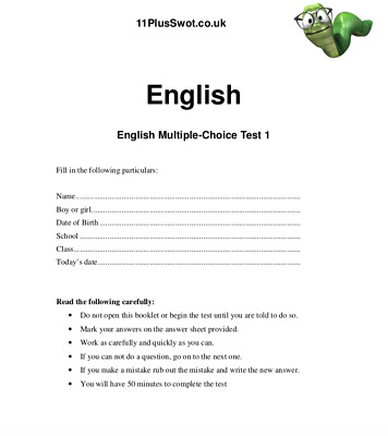 11 Plus English Mock Tests - 5 Complete Swot Exam Papers with Answers Download