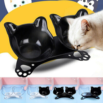 Double Bowl Pet Cat Dog Food Feeder Elevated Stand Raised Dish Feeding Watering