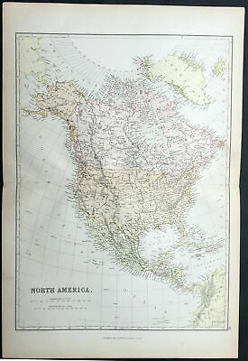 1870 John Bartholomew Large Antique Map of North America
