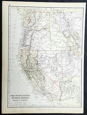1870 John Bartholomew Large Antique Map The Western of Pacific States of America