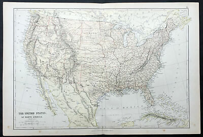 1870 John Bartholomew Large Antique Map of The United States of America - Dakota