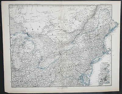 1877 Adolph Stieler & Petermann Large Antique Map Great Lakes & NE United States