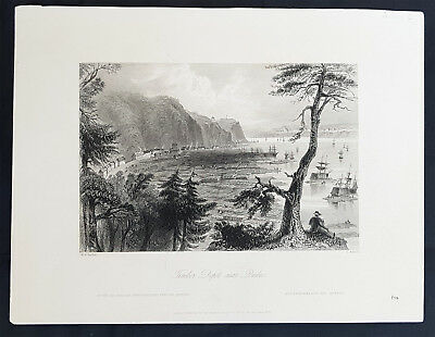1842 William Bartlett Antique Print Timber Depot St Lawrence River Quebec Canada
