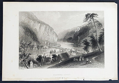 1840 William Bartlett Antique Print Harpers Ferry Shenandoah & Potomac Rivers WV