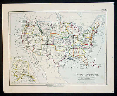 1890 Boulton Antique Map The United States of America