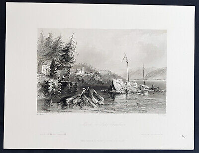 1842 Bartlett Antique Print View of Rafts on Lake Chaudiere, Quebec, Canada