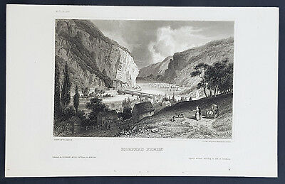 1855 Herrmann Meyer Antique Print View of Harpers Ferry, West Virginia