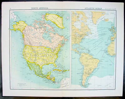 1890 Bartholomew Antique Map North America & Atlantic