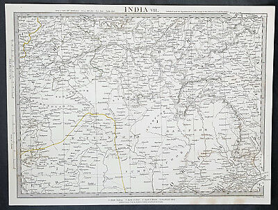 1832 SDUK Large Antique Map of Uttar Pradesh State in Northern India