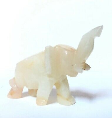 Hand Carved Quarts Elephant Figurine~ Trunk Raised