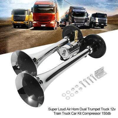 150DB Super Loud Dual Trumpet Air Horn 12V Train Truck Car Lorry Kit Compressor