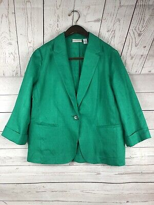 Chico's 100% Linen One button Kelly Green Blazer Size 1 unlined cropped sleeves