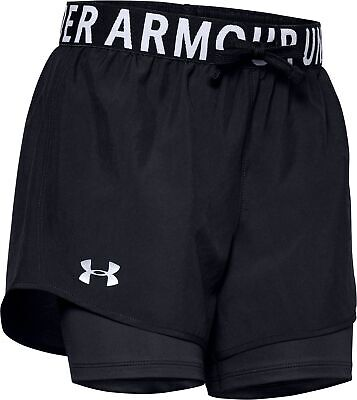 Under Armour HeatGear 2 In 1 Girls Junior Running Shorts - Black