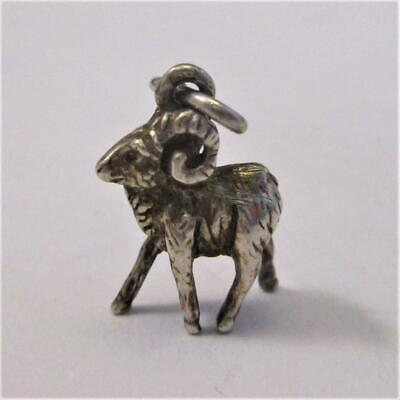 German Or Austrian Silver Ram Figure Pendant  Antique Victorian c.1890. tbj0534.
