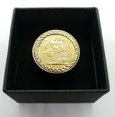 1974 Queen Elizabeth Ii Gold Full Sovereign Ring Size P