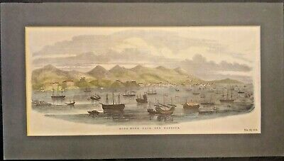 Extremely Rare Framed Photo Of Hong Kong, China From The Harbor 1854 Genuine