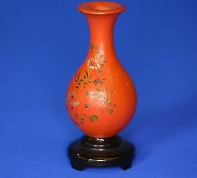 Chinese lacquer wood miniature hand painted vase, 55mm *[17450]