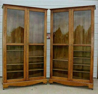 PAIR (2) Huge Antique Oak Country Store Clothing Cabinets Bookcases Dish Display