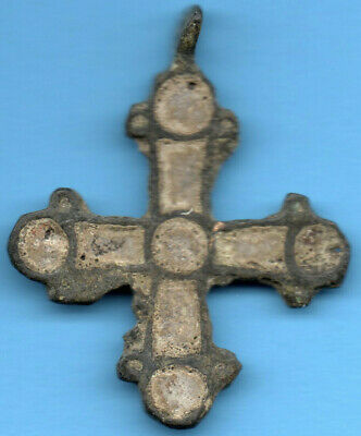 Ancient Viking Scandinavian Bronze Cross Kiev Russia Ukraine 1100 Byzantine 17