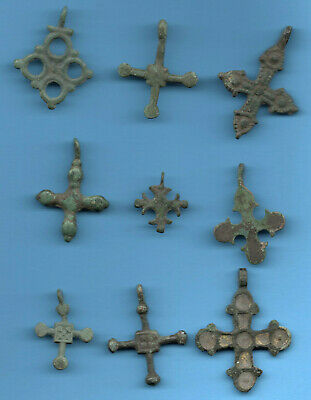 LOT OF 9 Ancient Viking Enamel Bronze Cross Kiev Russia ca 1100 Byzantine 78