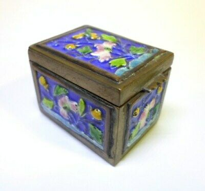 "Antique CHINESE ENAMEL on BRASS STAMP BOX Colorful FLOWERS Floral Design 1.5"" L"