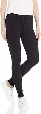 Monrow Womens Pants Black Size Large L Supersoft Fleece Skinny Stretch $58- 681