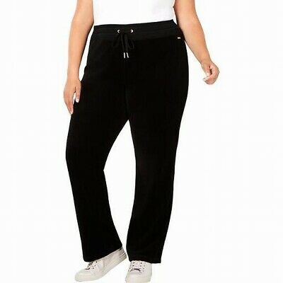 Calvin Klein Women's Black Size 1X Plus Velour Wide Leg Pants Stretch $79 #390