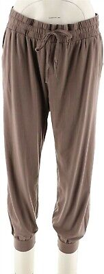 AnyBody Loungewear Cozy Knit Cropped Jogger Pants Smokey Taupe S NEW A275081