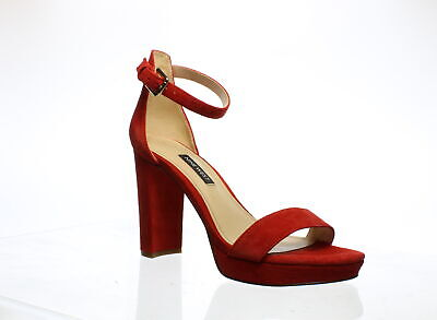 Nine West Womens Dempsey Red Ankle Strap Heels Size 5.5 (1092215)