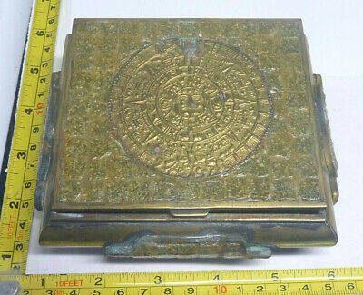 OLD Brass-Wood-Mosaic & AZTEC Calendar TRINKET Box - Hinged & Footed - Mexico