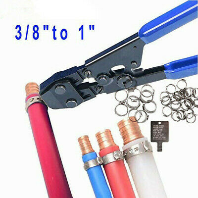 """PEX Pipe Cinch Crimping Tool with Tube Clamp Fit Clamp 3/8"""",1/2"""", 5/8"""", 3/4""""&1''"""