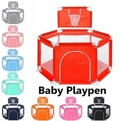 6 Sides Baby Safety Play Yards Folding Playpen Activity Center Fence Indoor Yard