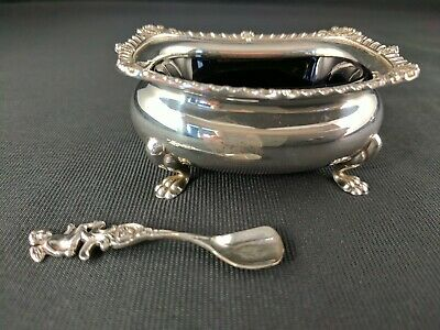 BIRKS Sterling Silver Pair of Open Salt Cellars With Cobalt Blue Glass Liners