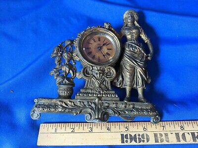 Antique Figural Ansonia Mantle Clock Rare Victorian Woman Stand Bronze Cast Bras