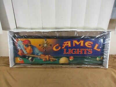Vintage NOS Camel Lights Cigarettes Joe Camel Playing Pool Wood Wall Clock -NEW-