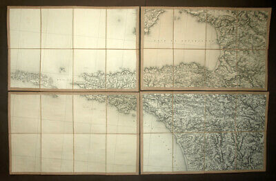 Bay of Douarnenez, Island Sein Card Geographical Original Plan 19eme Century