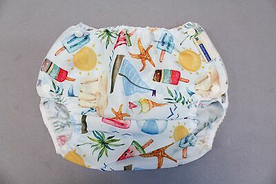 Mother-Ease Organic Snap On Beach Print Cloth Diaper SG8 White One Size