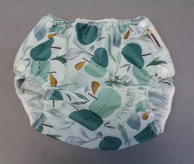 Mother-Ease Organic Snap On Apple Print Cloth Diaper SG8 White One Size