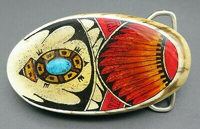 Southwest Turtle Feathers Bone Turquoise Handcrafted Painted Tribal Belt Buckle