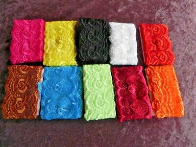 Lot of 10 New Silky Embroidered Laces (A) - Mixed Colours
