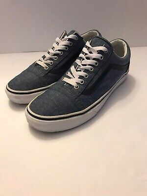 Vans Off The Wall Old Skool Blue Shoes Sneakers Mens Size 8 Women's Size 9.5